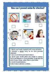 English Worksheet: How can I prevent swine flu infection