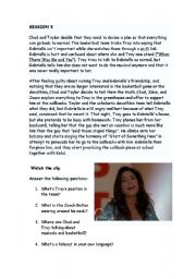 English Worksheet: HIGH SCHOOL MUSICAL 1 WORKSHOP (part 5 out of 8) When there was you and me