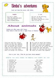 English Worksheets: Simba�s adventures