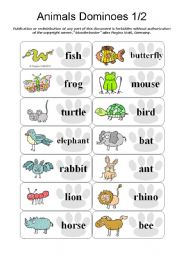 English Worksheets: Animal Dominoes - Paw 1/2 ;o) (by blunderbuster)