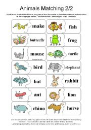 English Worksheets: Animals Matching - Memory - Pair Finding - Paw 2/2 (by blunderbuster)