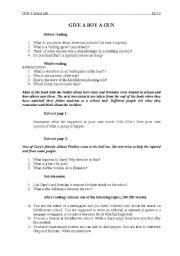 English Worksheets: Give a Boy a Gun