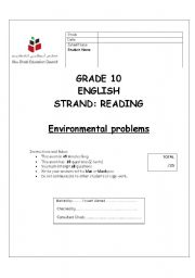 English Worksheets: Environmental problems (Reading Comprehension Test)