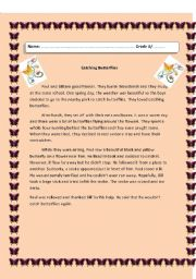 English Worksheets: Catching Butterflies
