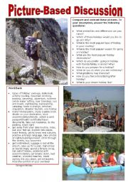English Worksheet: Picture-Based Discussion (37): Going on Holiday