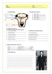 English Worksheets: John�s face