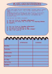 English Worksheet: PLANS AND INVITATIONS