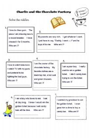 English Worksheet: Charlie and the Chocolate Factory - Worksheet - Riddles - Guess the characters