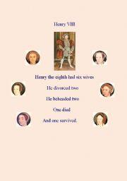 English Worksheet: Henry VIII : POEM