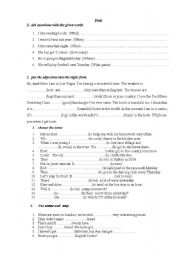 English Worksheet: quiz on tenses, ajectives,quetions and so on