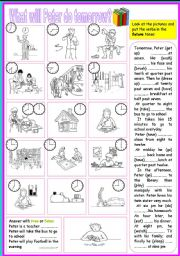 English Worksheets: peter daily routines