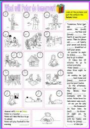 English Worksheet: peter daily routines