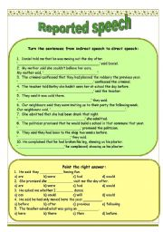 English Worksheet: Reported speech - indirect to direct