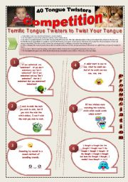 English Worksheet: 40 FUNNY TONGUE TWISTERS COMPETITION - (6 Pages) with 7 activities + instructions about how to use them