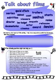 English Worksheet: Talk about films!