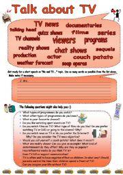 English Worksheet: Talk about TV!