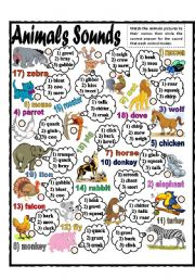 English Worksheet: Animals Sounds (part 1)