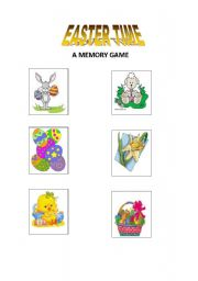English Worksheet: Easter time - a memory game