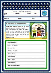 English Worksheet: Family - test (page 1)