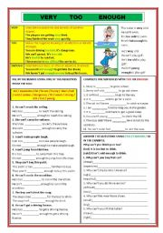 English Worksheet: VERY / TOO / ENOUGH