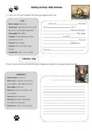 English Worksheets: Writing Activity: Wild Animals