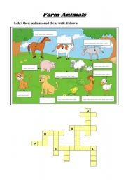 English Worksheets: Farm animals (key included)