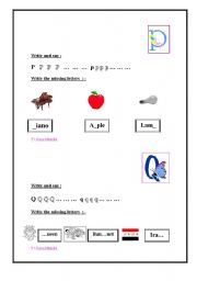 English Worksheets: letter p and q