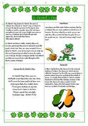 English Worksheets: St. Patricks Day Information