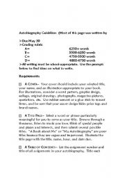 English Worksheet: Autobiography Guidelines