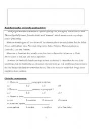 English Worksheets: Another natural phenomenon. Monsoons (reading comprehension)