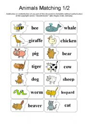 animals matching memory pair finding part 1 2 by blunderbuster esl worksheet by. Black Bedroom Furniture Sets. Home Design Ideas