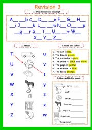English Worksheets: Writing letters. Revision 3. Letters Tt-Zz + colousr (2 pages)