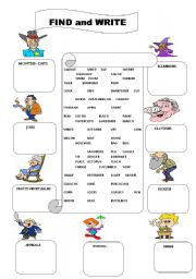 Find and Write vocabulary