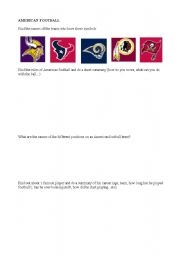 English Worksheet: American football - internet quest