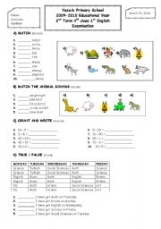 2nd term 4th grade 1st exam paper