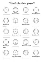 English Worksheet: clocks