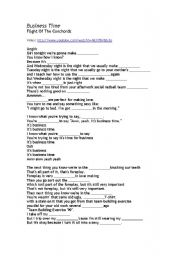 English Worksheet: Flight of the Conchords - It�s Business Time (key included) - For adults