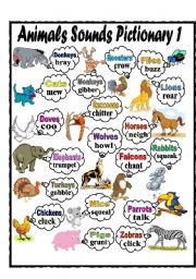 English Worksheet: Animals Sounds Pictionary