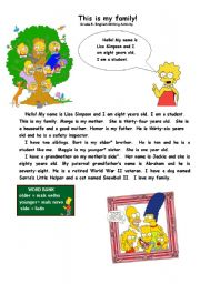 English Worksheets: Writing Activity: This is my Family!