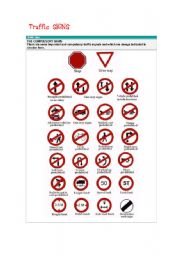 English Worksheet: the compulsory traffic signs