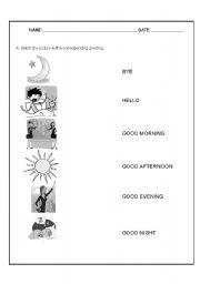 English Worksheets: Greetings test