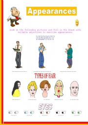 English Worksheets: All the words related to appearances with wonderful pictures to illustrate.