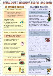 English Worksheet: Verbs with infinitive and/or ing form (part 1)