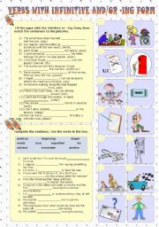 English Worksheet: Verbs with infinitive and/or ing form (Part 2)