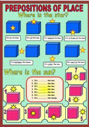 English Worksheet: Prepositions of place.
