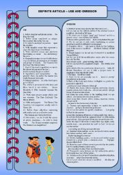 English Worksheet: Definite article: use and omission