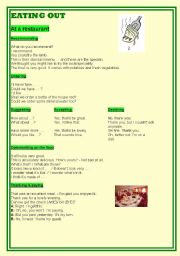 English Worksheet: EATING OUT (food and restaurants)