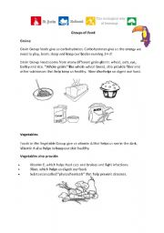 English Worksheet: groups of food benefits