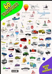 English Worksheet: 60 TRANSPORT PICTIONARY