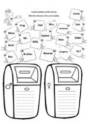 English worksheet: Male or female?